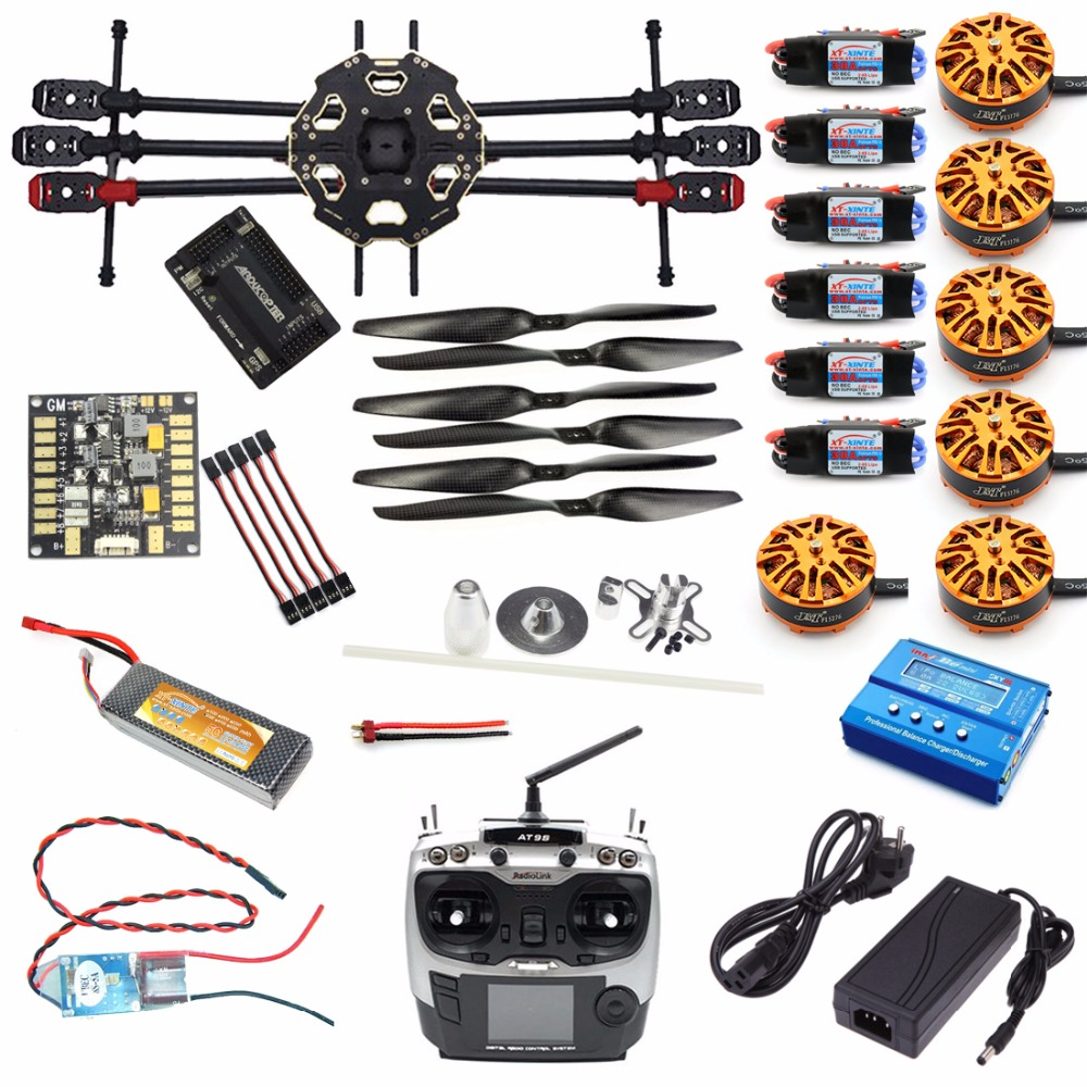 JMT DIY 6-axis Aircraft Kit Full Set Helicopter Drone Tarot 680PRO Frame 700KV Motor GPS APM 2.8 Flight Control AT9S Transmitter tarot tl68b14 6 axis aircraft hexcopter fy680 fy650 inverted battery rack ship with tracking number