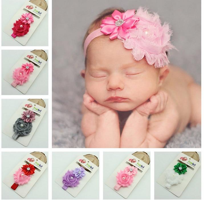 20pcs/lot High Quality Newborn Baby Safe Hair Toddler Kids Fancy Dress Accessories Beautiful Girls Elastic Flower Headbands HB01