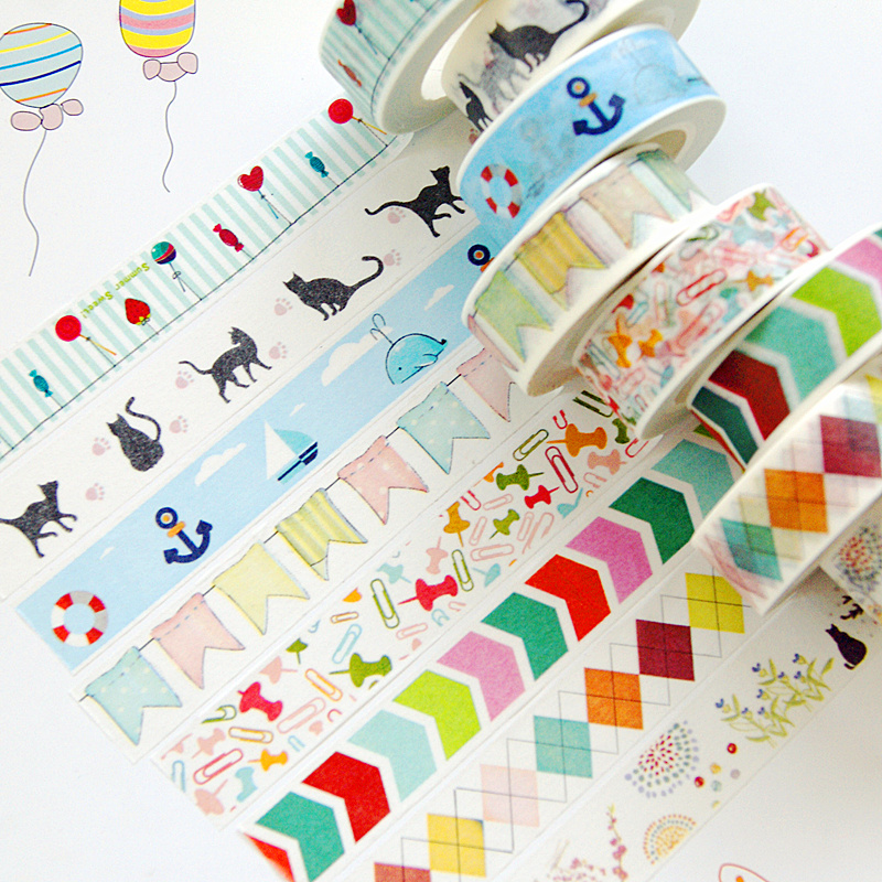 1 Pc DIY Candy Hot Pattern Belt Decoration Roll Diy Washi Decorative Sticky Paper Self Adhesive Tape Child Stationery Scrapbook