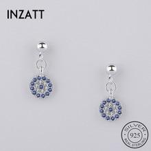 INZATT Real 925 Sterling Silver Trendy Blue Eyes Zircon Blue Crystal Round Dangle Drop Earrings for Women Party Fine Jewelry