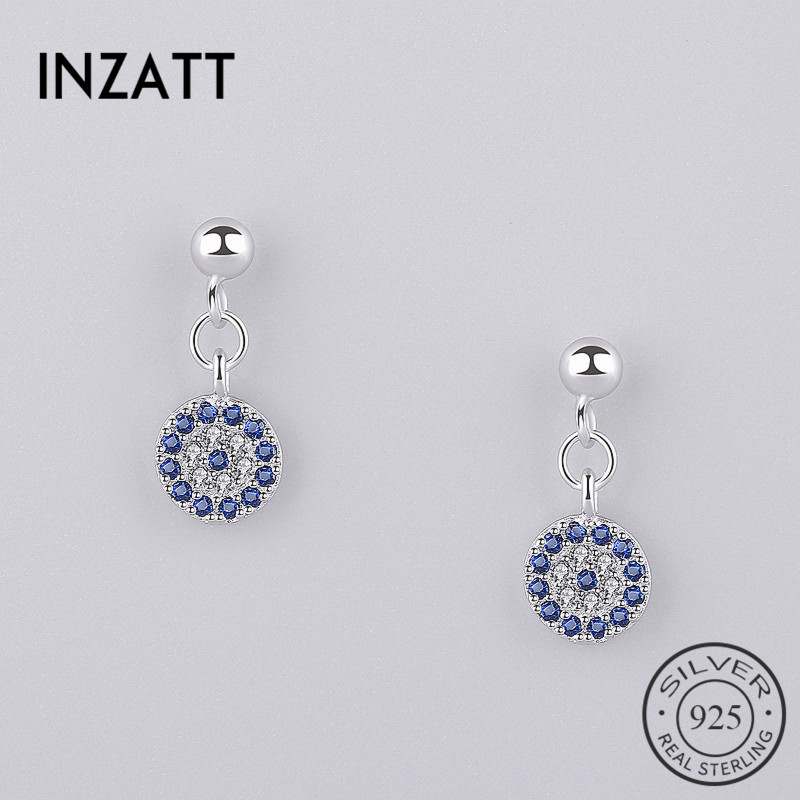 INZATT réel 925 en argent Sterling à la mode yeux bleus Zircon bleu cristal rond balancent boucles doreilles pour les femmes fête bijoux fins