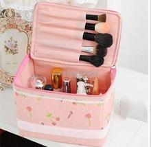 Hot Pink Cherry Lady Makeup Cosmetic Case Toiletry Bag Travel Handbag Storage box cosmetic bag