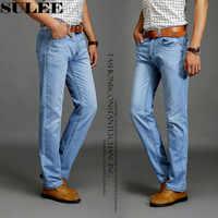 SULEE di Marca 2019 Nuovi Uomini di Modo Casual Sottile E Leggero Skinny Jeans Pantaloni Jeans Stretti Pantaloni di Colori Solidi