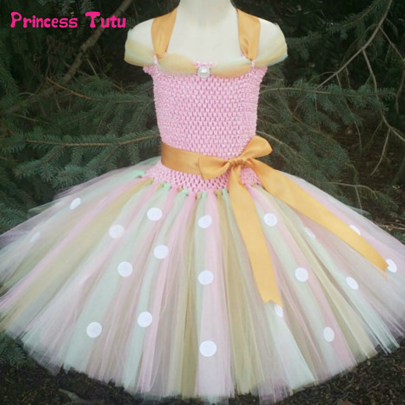 Pink Girls Tutu Dress Polka Dot Tulle Princess Minnie Dress Girl Kids Birthday Party Costume Halloween Girls Ball Gown 1-14Year fancy girl mermai ariel dress pink princess tutu dress baby girl birthday party tulle dresses kids cosplay halloween costume