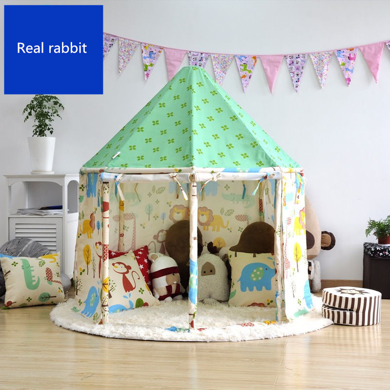 [Funny] Indoor outdoor fairy tale House tent Pure cotton cloth + wooden pole assembly yurt foldable child park game play tent inflatable tent with blower for children funny outdoors park indoor pvc white play house bubble tent commercial with toilet