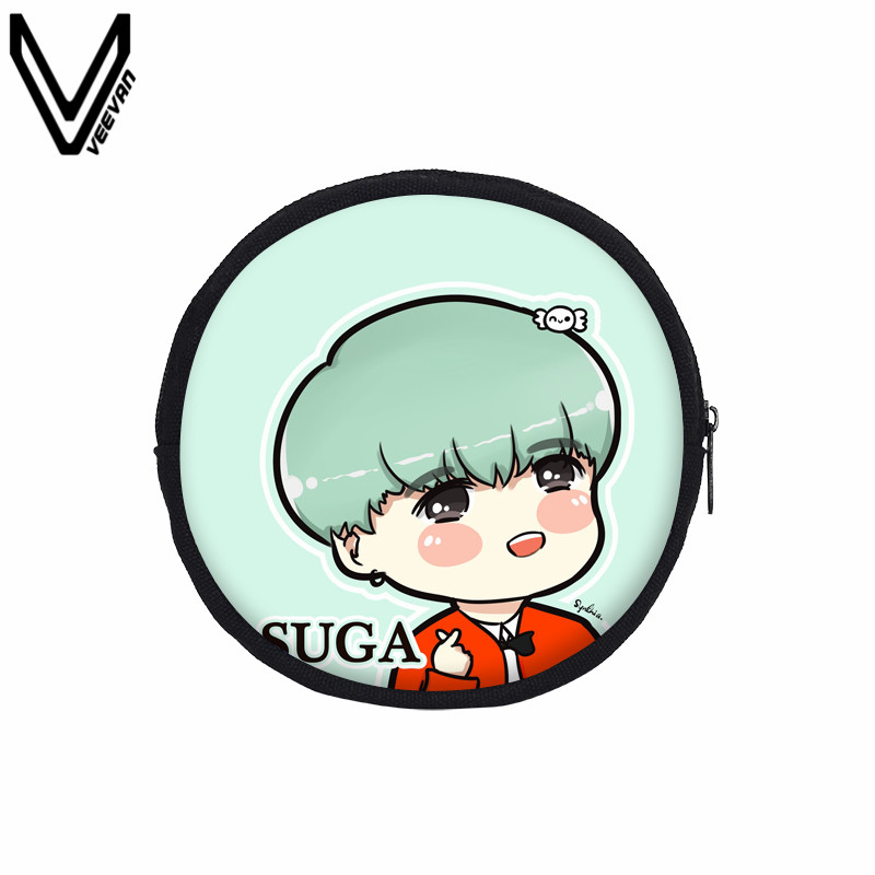 veevanv women fashion cute bts cartoon printing coin purses round canvas wallet for women portable coin bags bts suga jimin rap in coin purses from luggage