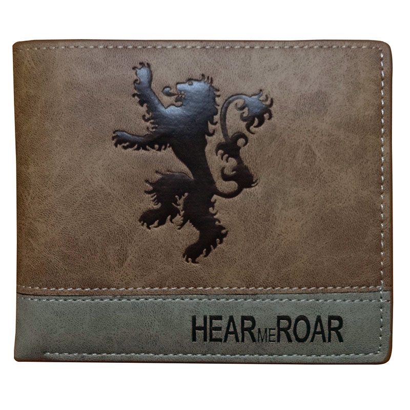 Game of Thrones Men Wallets Cartoon Anime Embossing LOGO Leather Short Purse portefeuille Gifts Card Holder Coin Pocket Wallet 2018 epic game gears of war logo wallets purse red leather man women new w135