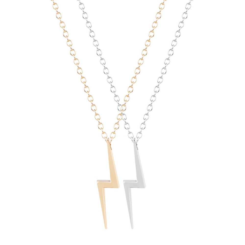QIAMNI Natural Big Lightning Bolt Charm Necklace Pendant