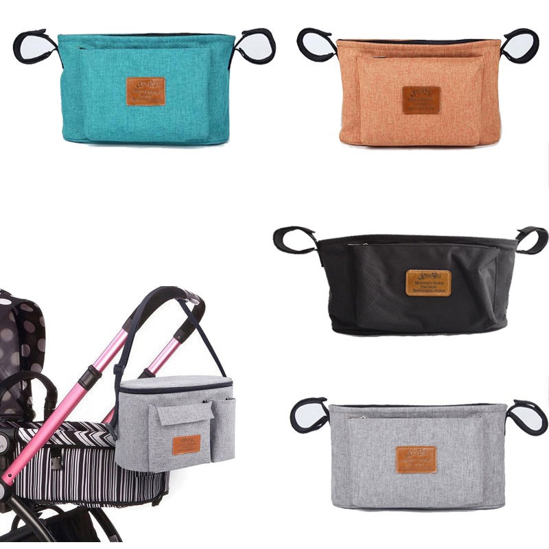 Waterproof Solid Color Baby Wheelchair Bag Nappy Bags For Stroller Organizer Mummy Diaper Bag Hanging Carriage Pram Buggy Cart