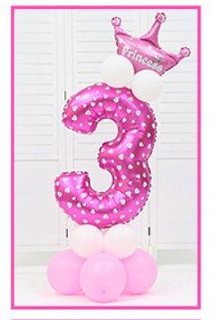 16 шт./упак. розового и голубого цвета для детей 0-9 цифры Большие Гелиевые номер Фольга детей фестивалей Dekoration День рождения шляпа игрушки для детей - Цвет: pink 3