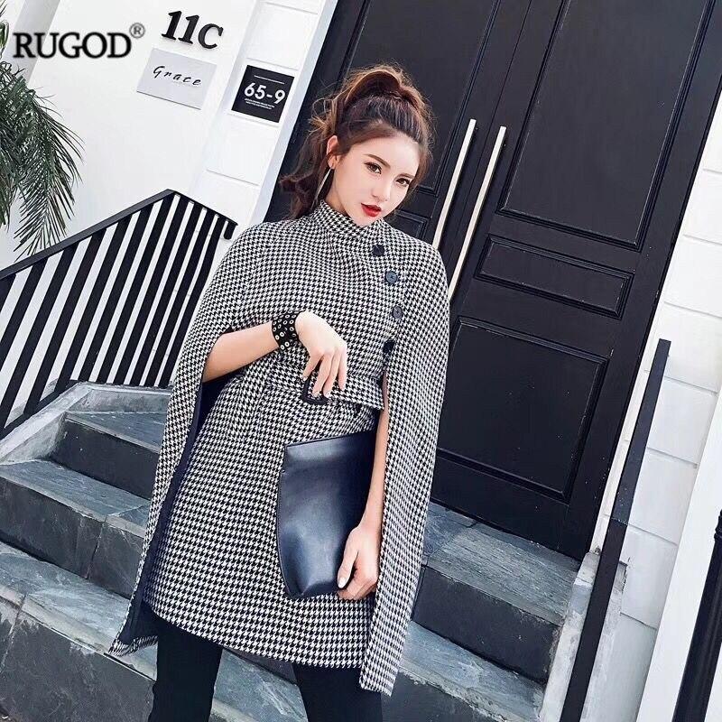 Rugod 2018 Women New Autumn Long   Trench   Coat Global Fashion Plaid Knitted Windbreaker Female Long Belt Tunic Coat Femme Overcoat