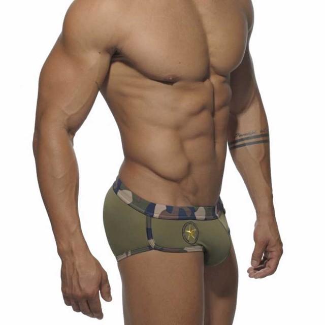 Sportswear Swim Briefs Men Black Bikini Low Rise Swimming Shorts Military Green Swimsuit Sexy Camouflage Gay Mens Swimwear
