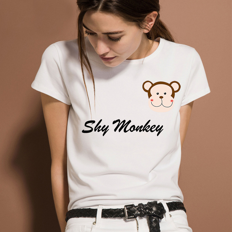 New Creative Funny Fashion Print Letter Graphic Tops Tees Shy Monkey 2018 Summer O-neck Women Men Ladies Short Sleeves T-shirt