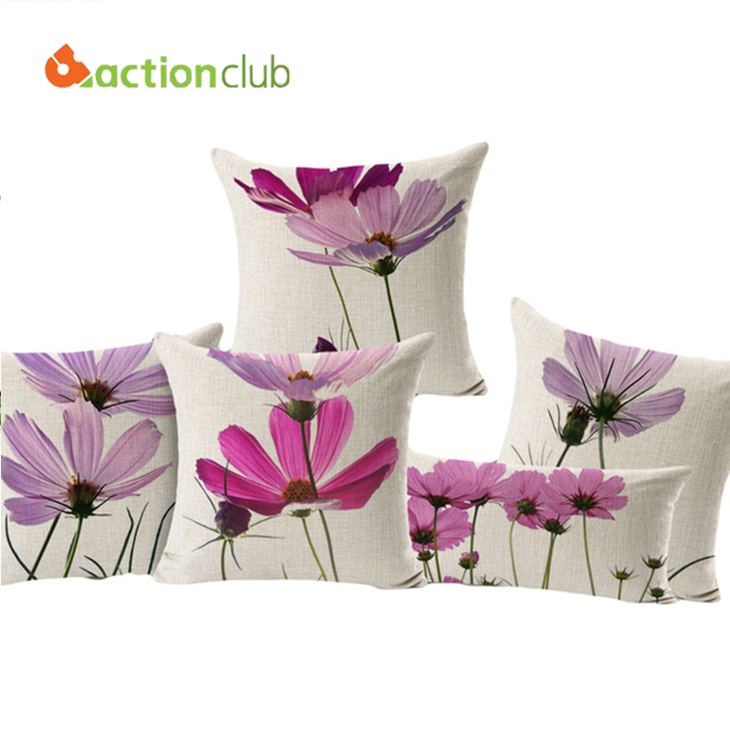 actionclub purple flowers cushions home decor pillows new signature cotton cecorative throw pillows decor pillow hh596