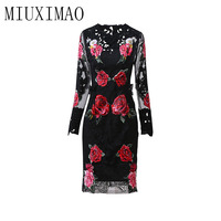 2018 Newest Autumn New Arrival Fashion Casual O Neck Full Sleeve Sheath A Line Appliques Elegant Print Mid Calf Long Dress Women