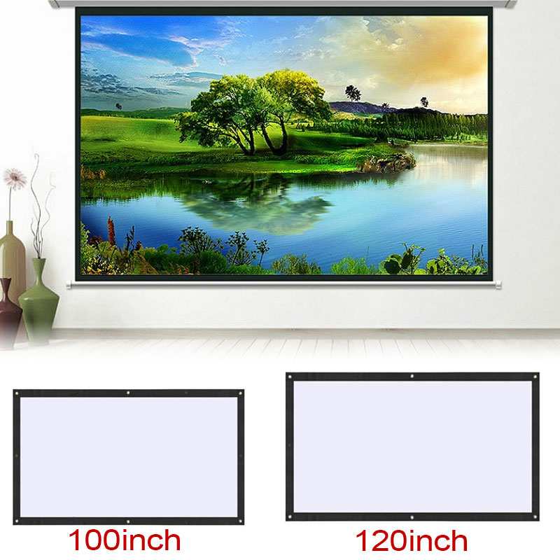 Projection Screen Movie 100/120 Inch 16:9 Portable Foldable Projection Curtain Video Projection Projector Accessories Home support for customfree shipping 120 inch projector mount screen 16 9 gf grey