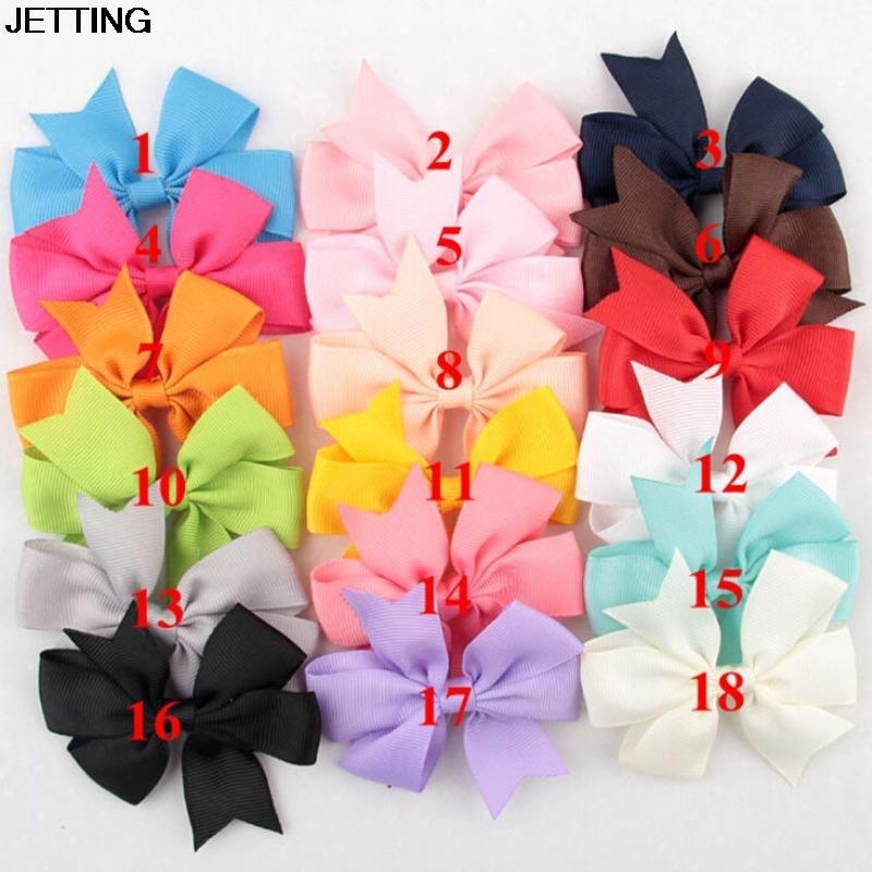 18 PCS Fashion Girl Hair Bows Clips Boutique Hair Pin Grosgrain Ribbon Bows Hairpins Kids Headwear Accessories 8cm