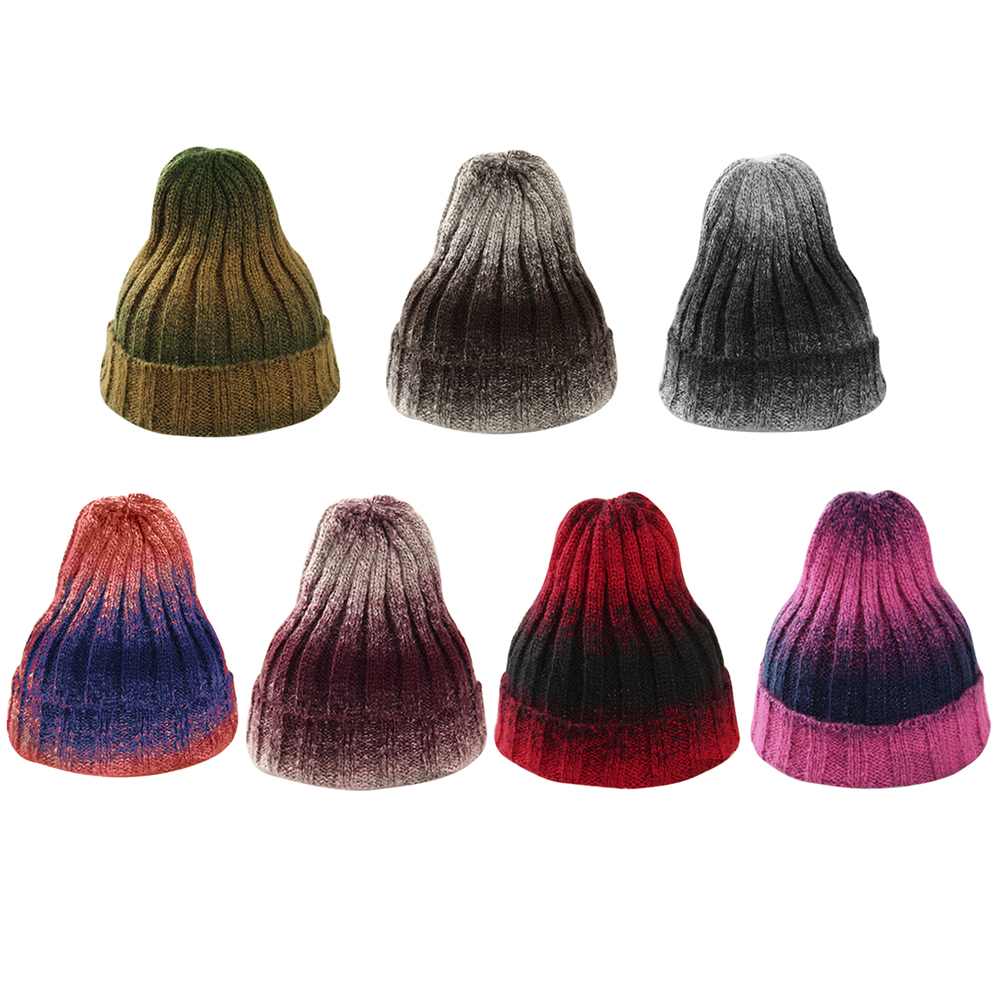 Women New Design Caps Gradient Color Women Winter Hat Wool Knitted Sweater Fashion beanie Hats For Women 6 colors Ski Hat DM#6