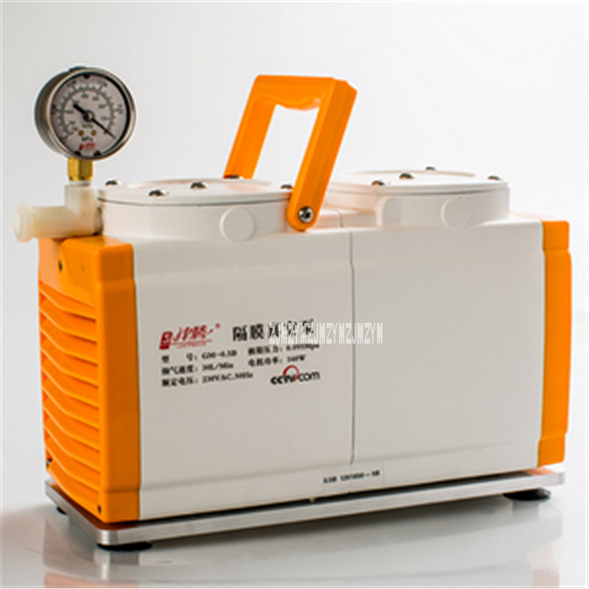New Anti-corrosion Type GM-0.5B Vacuum Pump Oil-free Diaphragm Vacuum Pump Laboratory Pump Dual Head 160W 220V AC, 50Hz 30 L/min manka care 110v 220v ac 33l min 80 w oil free diaphragm vacuum pump silent pumps oil less oil free compressing pump