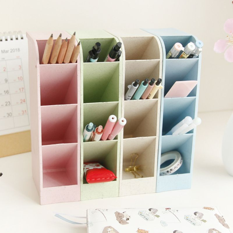 Multi-function 4 Grid Desktop Pen Holder Office School Storage Case Box Wheat Straw Desk Pencil Organizer Stationery