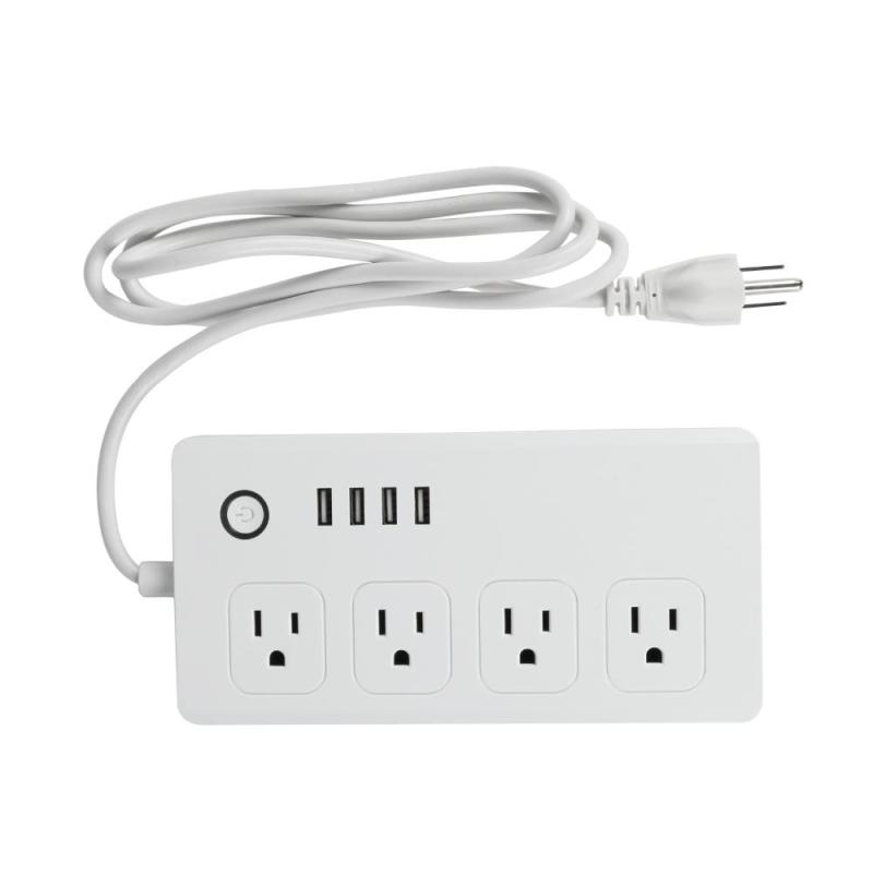 US Standard WiFi Smart Socket Smart Plug 4 AC Outlets and 4 USB Ports For Amazon Alexa APP Control Power Strip Surge Protector wi fi enabled mini outlets smart socket control your electric devicsmart us plug wifi smart wireless socket m 16