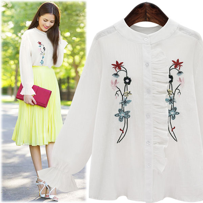 Plus Size 5XL 2017 Blusas ruffles blouse shirt women tops Casual Floral Embroidery shirt Long Sleeve