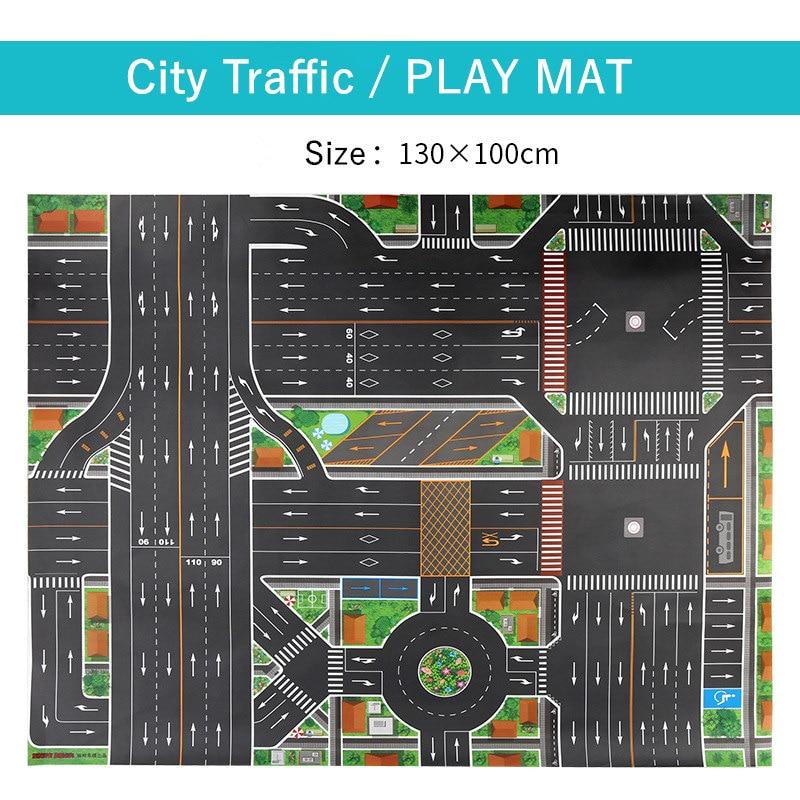 HTB1smOlXRGE3KVjSZFhq6AkaFXaK 83*57cm/130*100CM Large City Traffic Car Park Play Mat Waterproof Non-woven Kids Playmat Pull Back Car Toys for Children's Mat