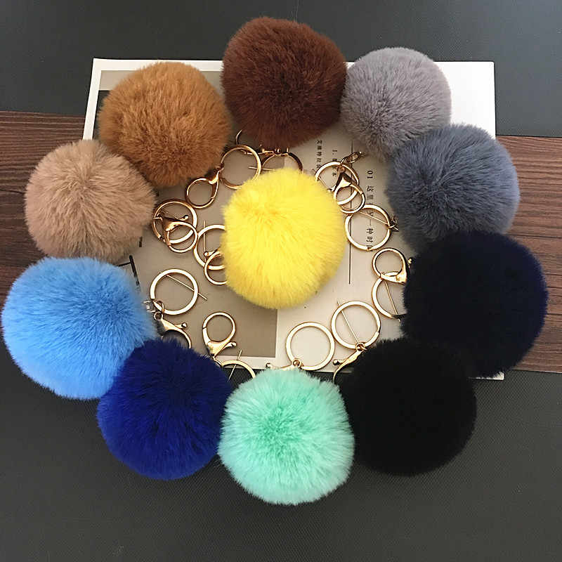 Wholesale 25Colors Trinket Artificial Fur Ball Keychain Pompom Fur Keychains on Bag Cute Fluffy Faux Pompon Pendant Accessories