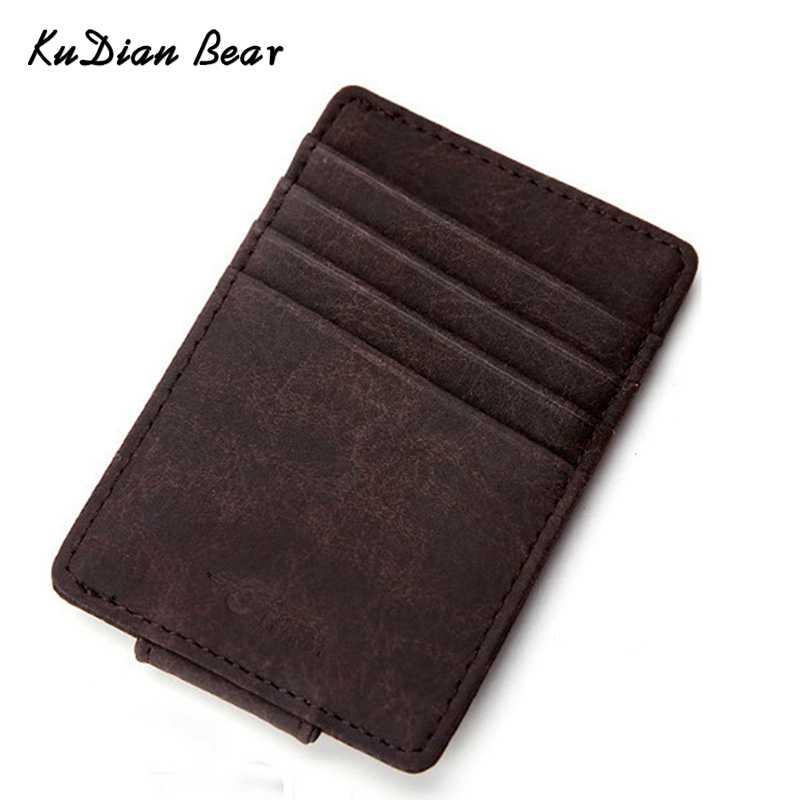 KUDIAN BEAR кожаный мужской зажим для денег кошелек Тонкий Магнитный короткий органайзер для Карт Rfid передний карман I клип -- BID215 PM49