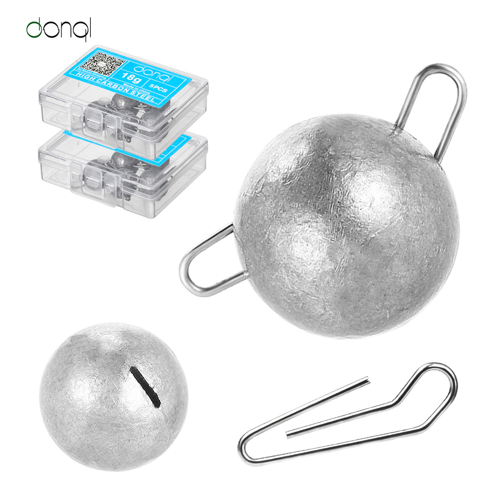 DONQL 5pcs/box Fishing Lead Sinker Weight Jig Head Lead Deep Water Bullet Weight With Swivle Sinker Round Balls Fishing Tackle