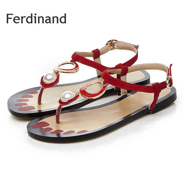 1cc238bab1e Women Genuine leather sandals Sleepskin String Bead Red Mixed color Ladies  Casual shoes Summer Fashion Women flat shoes size4~10