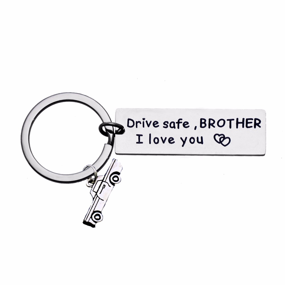 Drive Safe Brother I Love You Keychain Car Trucker Charms Keyring Gift For Men Best Friends Key Chains Rings Family Jewelry