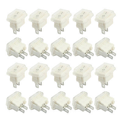 High quality  20Pcs 2Pin on-off SPST Waterproof Rocker Switches White AC 3A 250V 6A 125V 9 pcs panel mount 2 pin spst rocker switch ac 16a 250v ac 10a 125v