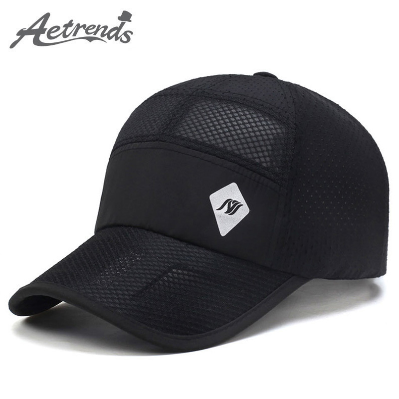 [AETRENDS] 2017 New Summer Hats Mesh Hollow Baseball Cap Men Quick-Drying Breathable Women Caps Z-5076 50pcs cheap heather slouch beanie caps mens winter knitting baggy skull hats women knitted beanies new oversized skullies cap