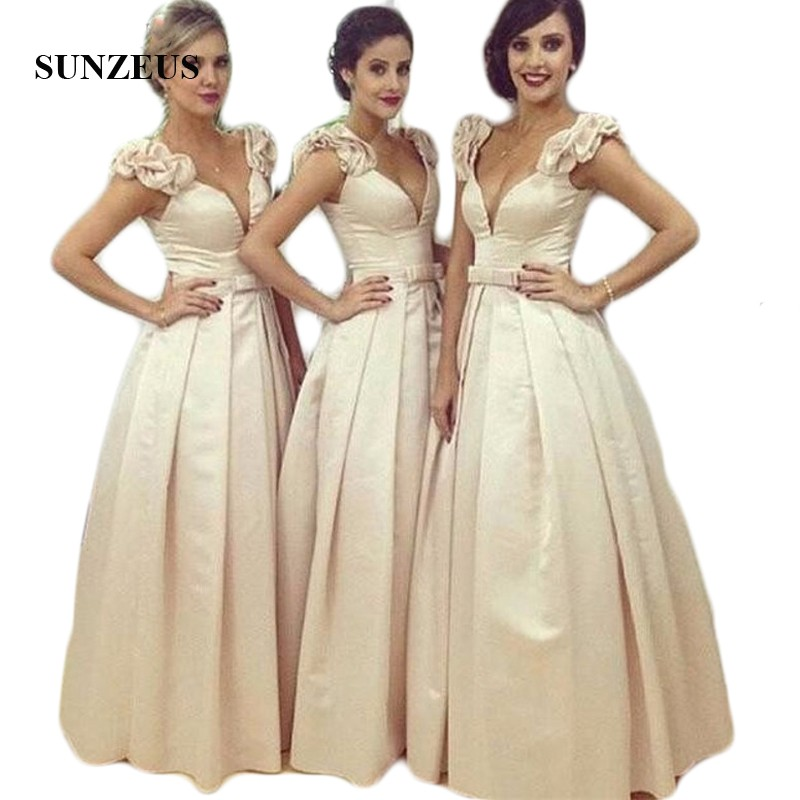 2017 Arabic Sweetheart Long   Bridesmaid     Dresses   Satin A line Saudi Dubai Ruched Long Maid of Honor   Dress   Wedding Party Gowns