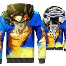Sweatshirts For Men Thick Coats 3D Pattern Dragon Ball Z Anime Super Saiyan Jacket 2018 Hooded Hoddie Mens Hoodies