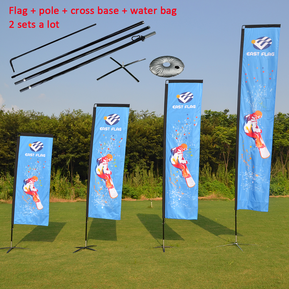 US $179 0 |2 sets double sided rectangle flag with cross base and water  bag/outdoor double sided square flag/2 sided custom block banners-in Flags,