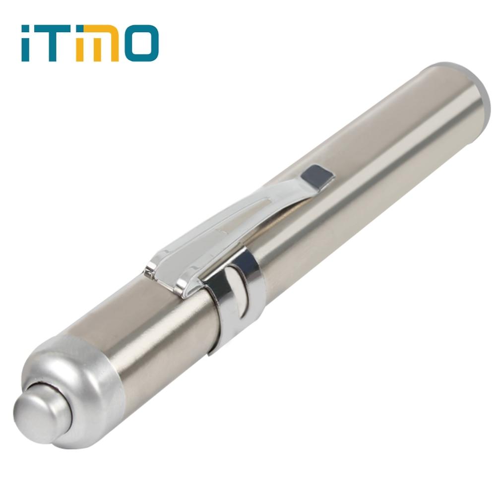 iTimo With Keychanin Torches Round Moon Shape Lanterna 10.3*1.7cm LED Flashlight Stainless Steel Mini Universal