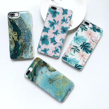 Fashion Flower Glitter Case For iphone X XS Max XR 6 6s 7 8 plus Green Marble TPU Soft Cover Capa