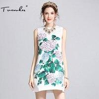 Lato Runway Markowa damska Wysokiej Jakości Urocze Kwiatowe Aplikacje Drukowane Elegancki Biały Żakardowe Linii Tank Dress