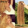 3PCS Brazilian Curly Blonde Hair Extensions Honey Blonde Human Hair Weft Curly Virgin Blonde Hair Weave Cheveux Tissage GJ304
