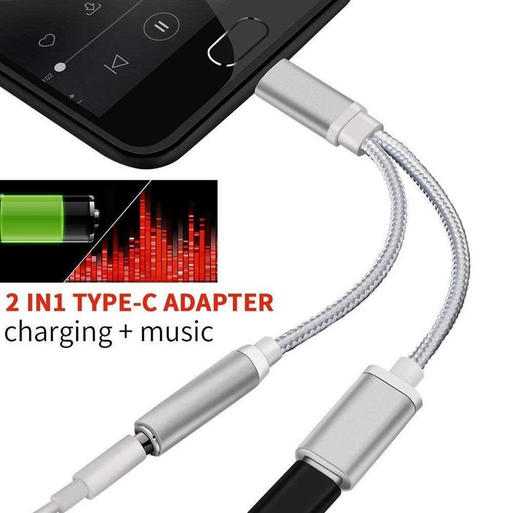 2in1 USB C a 3,5mm adaptador de conector de auriculares y carga, adaptador USB tipo C a conector auxiliar y carga para Moto Z para auriculares