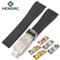 20mm Men Watchbands Black Blue Clock Rubber Silicone Watch Band Curved End Diving Watch Strap Belt Steel Deployment Clasp Buckle