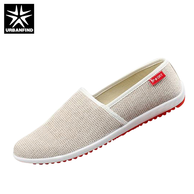 URBANFIND Breathable Man Hemp Flat Shoes Eu 39-44 Fashion Outdoor Casual Style Light & Soft Men Summer Shoes