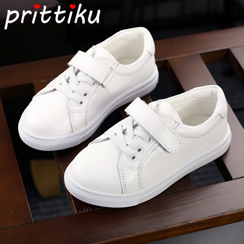 Spring 2018 Toddler Boys Girls Classic White Sneakers Little Kid Genuine Leather Brand Trainers Big Children School Sport Shoes babaya new children sport shoes casual pu leather white running shoes for 4 12 years old boys and girls kids sneakers size 26 37