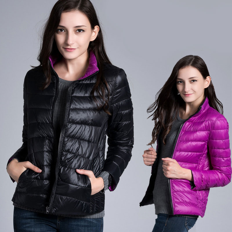 Both sides to wear   Coat   Female ultra light duck   Down   Jacket Women Padded cotton Parkas Casual Thin and light Basic Jackets   coats