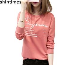 shintimes Plus Size T- Shirt Women Hole Tee Femme Korean Fashions Letter Print O-Neck Long Sleeve Casual Tshirt Tops