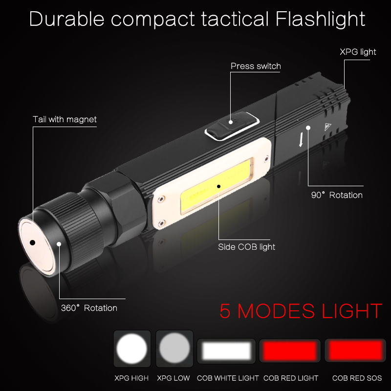 60000LM LED Flashlight Rechargeable 90 Degree Rotary Lamp Magnet 5Mode Torch AL