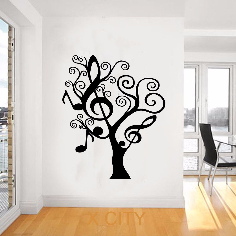 compare prices on wall tree stencil online shopping buy low price music tree creative plants giant wall sticker vinyl art decal window silhouette stencil living room decor