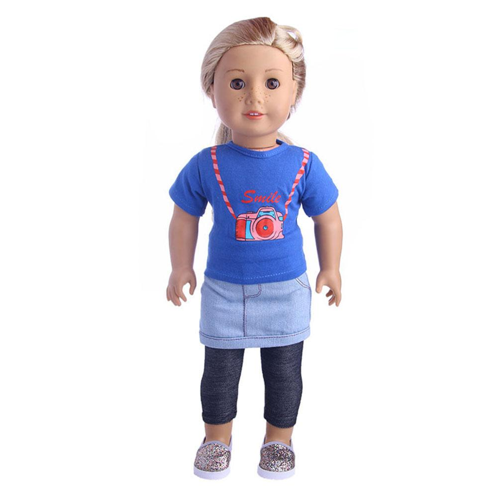 Cute 3 Piece Doll Toy Set Top + Skirt + Leggings Human Doll Accessories For 18inch Lovely Girl Doll